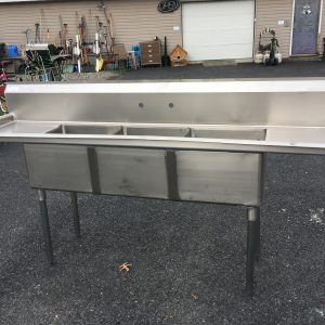 BUSINESS COMMERCIAL EQUIPMENT Stainless Steel Commercial 3 Bay Sink W Dual Drainboards commercial