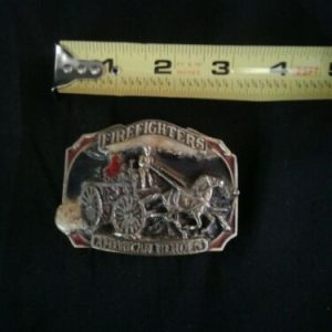 BELT BUCKLES 1988 Firefighters American Heroes Belt Buckle Made in USA Fire Fighter  1865 [tag]